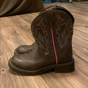 Western ware Justin boots pink and brown